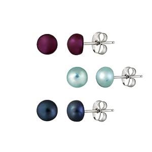 Freshwater Cultured Dark Blue<BR>Aqua Blue, Fuschia Pink<BR>Pearl Stud Earrings