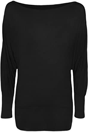 WearAll Women's Long Sleeve Batwing Top - Black - US 4-6 (UK 8-10)