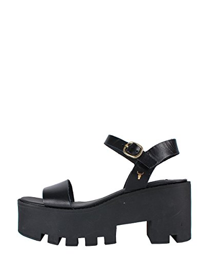 Windsor Smith Duffy Black Sandal - Sandali Neri Con Suola Carro Armato