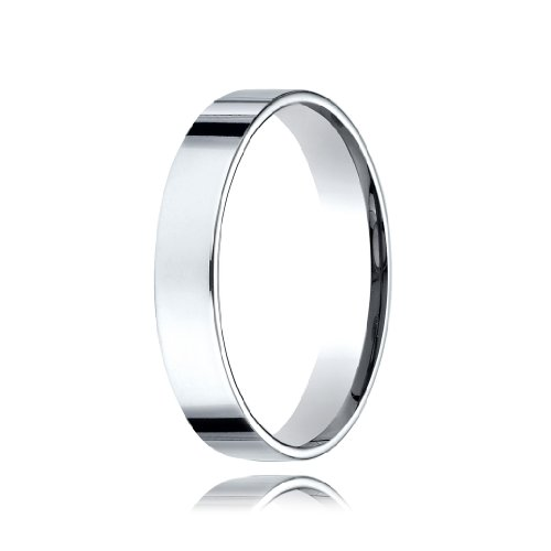 Flat Traditional Edge Comfort Fit Platinum Wedding Band - 4mm