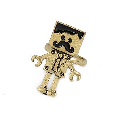 Jewellery Chic Boutique Vintage Bronze Quirky Cute Kitsch Moustache Lego Man Costume Jewellery Ring + Gift Bag