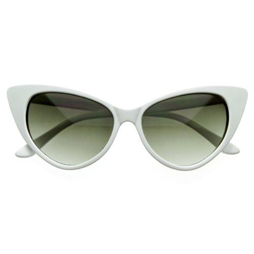 zeroUV - Super Cateyes Vintage Inspired Fashion Mod Chic High Pointed Cat-Eye Sunglasses (White) (Vintage Sunglasses Cateye compare prices)