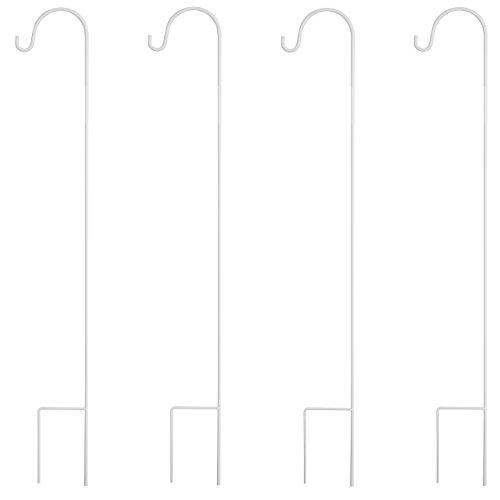 GrayBunny GB-6823 Shepherd Hook, 35 Inch, White, 4-Pack, Solid Single Piece Steel, For Hanging Solar Lights, Mason Jars, Plant Hangers, Flower Basket, Christmas Lights, Lanterns, Wedding Decor