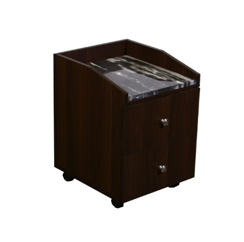 Nina pedicure accessory cart chocolate with ravin black marble by deco salon furniture