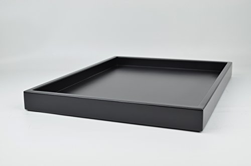 Decorative Tray Black Matte Lacquer 18 in. by 14 in. Shallow Low-profile Tray