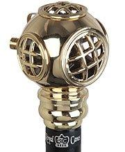 Royal Canes -Brass Navy Divers Helmet Handle Walking Stick With Black Beechwood Shaft