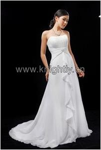 Bridal Chiffon Gown with Beading & Pleat - Bridal, Wedding, Party, Formal Gown