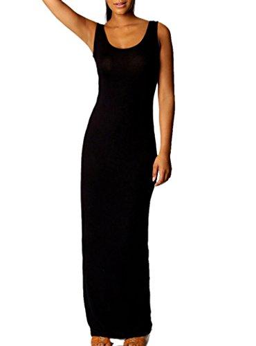 Sametop Women'S Sandy Scoop Neck Sleeveless Maxi Dress One Size Black