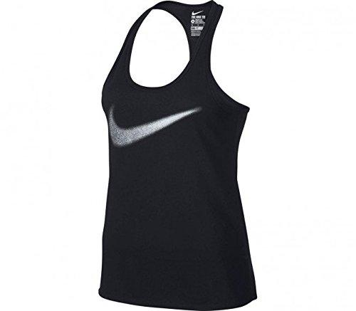 Nike-Dri-fit Cotton Swoosh da donna canottiera da allenamento (Nero)-S