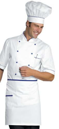 056806 Giacca Cuoco Alicante Bianco+Blu Cina per Abbigliamento per la cucina Donna Uomo Giacche