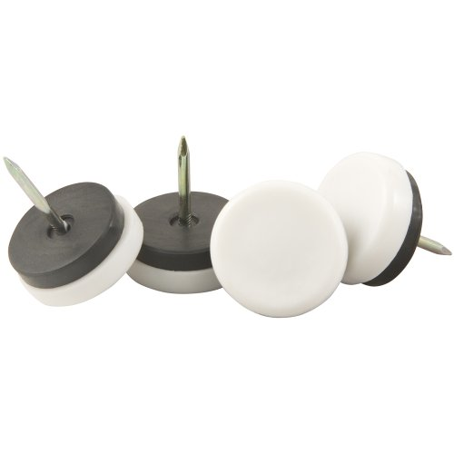 Waxman 4609895N 1 1/8 Inch Plastic Nail On Furniture Glides, White, 4 Pieces front-231106