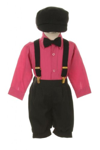 Vintage Dress Suit-Bowtie,Suspenders,Knickers Outfit Set For Baby Boys & Toddler, Black-Fuschia-24 Months