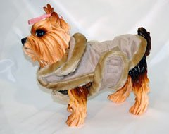Velcro Closure Faux Shearling Dog Coat (Tan, Size 10)