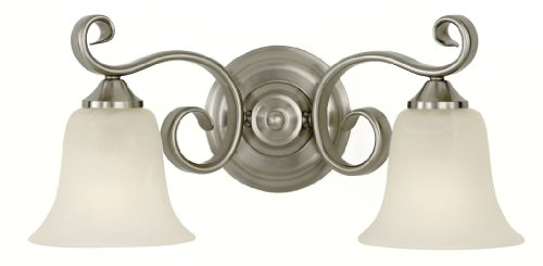 Murray Feiss Vs10402-Bs Two-Light Vista Collection Vanity Strip, Brushed Steel With White Alabaster Glass Shades