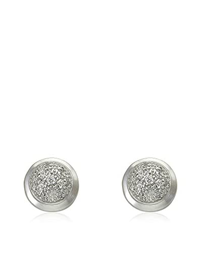 Riccova Retro Satined Circle Earrings with CZ Pavé, Silver As You See