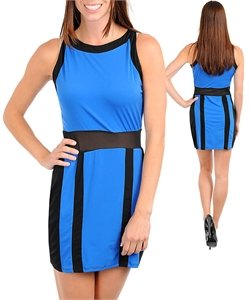Sleeveless Boat Neck Sheer Mesh Formal Evening Cocktail Party Colorblock Dress: