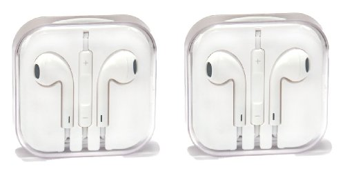 Teraxy® 2 Pack Earbuds Earpods With Mic And Remote Earphone Headphone Compatible With Iphones, Ipads, Ipods (White)