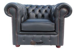 Chesterfield Low Back Club ArmChair Black Leather