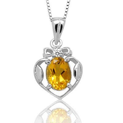 100% Genuine Citrine CZ 925 Silver Platinum Plating Necklace Gem Jewellery