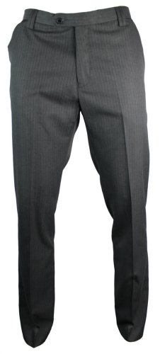 Mens Slim Fit Trousers Grey Self Stripe Italian Design Smart Short Reg Long
