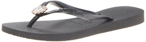 Womens Black Flip Flops front-482141