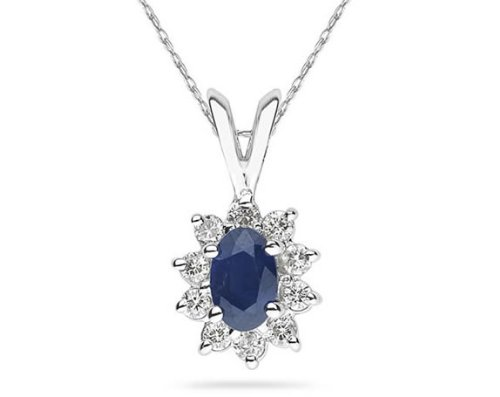 Oval Shaped Sapphire and Diamond Flower Pendant
