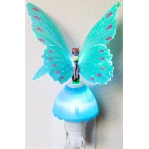 niceEshop(TM) Butterfly Optic Fiber Color Changing Night Light Show-Blue