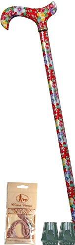 Da donna, motivo floreale, colore: rosso, linea Derby, altezza regolabile, Stick. di ricambio per bastone da passeggio, con ghiere e rosa, cinturino da polso, qualità Bundle)