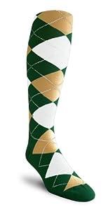Argyle Socks - HHHH:Dark Green Khaki White - Over-the-Calf by Golf Knickers