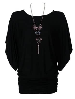 The Home of Fashion Womens Gorgeous Black Short Sleeve Tunic Slouch Dress Top (10 (SM))