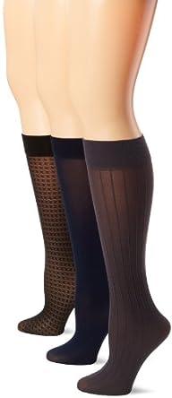 Anne Klein Women's 3 Pack Houndstooth Trouser Sock