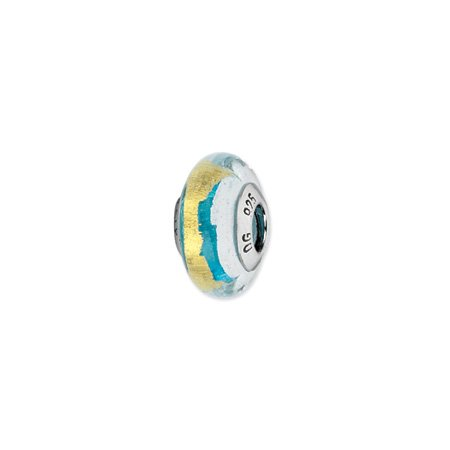 Turquoise, Silver and Gold Murano Glass Charm