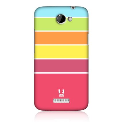 Head Case Orange and Pink Stripes Protective Snap-on Back Case Cover for HTC One X