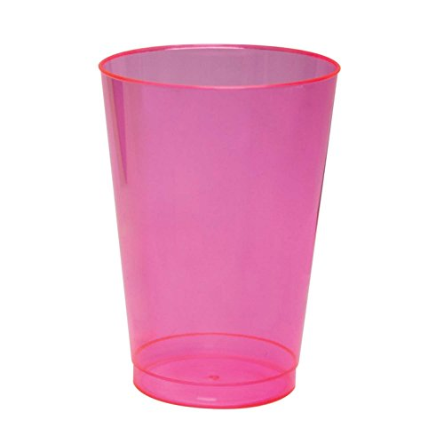 Party Essentials Hard Plastic 10-Ounce Party Cups and Tall Tumblers, Neon Pink, 25-Count