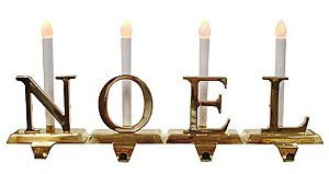 Brass Christmas Stocking Holders with LED Candles N-O-E-L - BOC Select