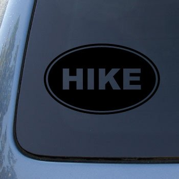HIKE EURO OVAL - Hiking - Vinyl Car Decal Sticker #1715 | Vinyl Color: Black
