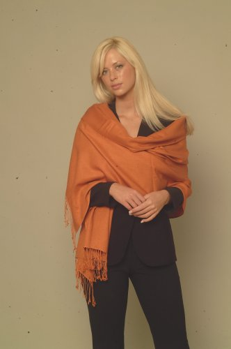 Burnt Orange Pashmina Shawl (Large) From Cashmere Pashmina Group In Vivid 55 Colors (Burnt Orange) front-672469