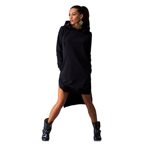 Fortan Maglione tasche donne vestono Felpa con cappuccio doppio Split Pullover (medium, Nero)