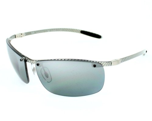 Ray Ban Sunglasses RB 8306 RB8306 083/82 Carbon Fibre Silver Grey mirror polarised