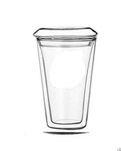 Komiikka 420ml Double-wall Glass Tea & Coffee Cup Mug w/ Lid (Glass Travel Coffee Mug compare prices)