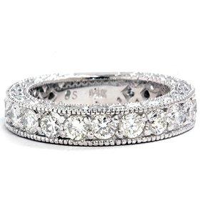 2.09CT VS 14K White Gold Anniversary Wedding Ring Band
