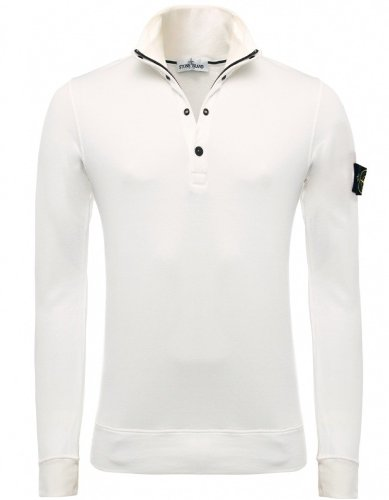 Stone Island Men's Sweater Cream Half Button-Up Sweatshirt M