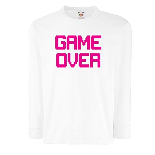 Bambini t-shirt con maniche lunghe Game Over regali gamer divertenti (9-11 years Bianco Magenta)