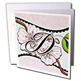 Dooni Designs Monogram Initial Designs - Cherry Blossom Flower Monogram Initial D - Greeting Cards-6 Greeting Cards with envelopes