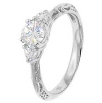 Sterling Silver Engagement Ring With Round Cubic Zirconia Stone in a 4 Prong Setting with Two Smaller Side stones