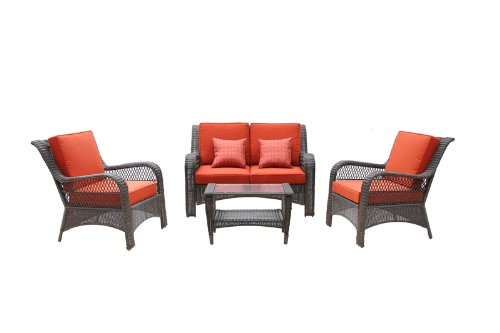 4pc Outdoor Black Wicker Patio Furniture Set