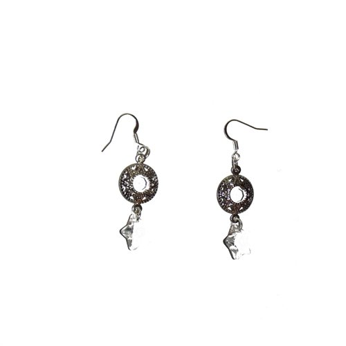 EARRINGS WITH AUTHENTIC SWAROVSKI CRYSTAL STARS AND GLASS ACCENTED LINKS - HANDMADE, UNIQUE
