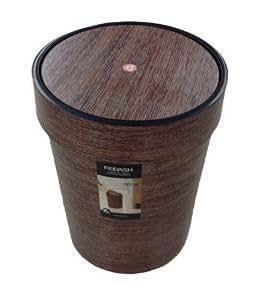 Poubelle avec couvercle basculant poubelle aspect bois - Poubelle salle de bain bois ...