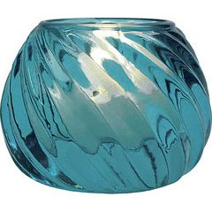 Luna Bazaar Turquoise Blue Vintage Colored Glass Candle Holder (Swirl Design) .