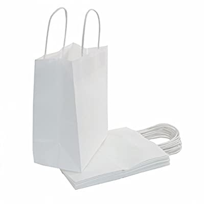 "White Kraft Paper Bags with Handles are the Perfect Solution for Baby Shower, Kids Birthday Party Favors(Treats, Goodies & Candy), Boys and Girls Gifts, & Shopping Bulk Set of 100 (8""x4.75""x10"")"